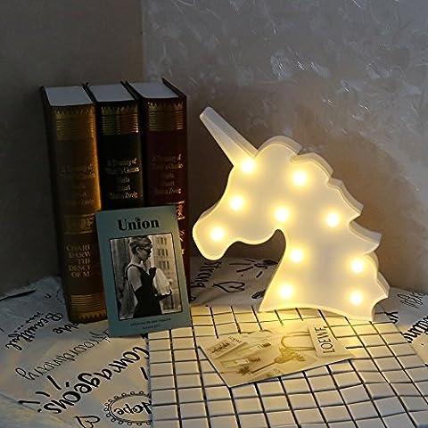 Cute Unicorn Led Night Light Animal / Fruit Shape Marquee Lampes LED sur le mur pour enfants Enfants Cadeau Éclairage intérieur Chrismas Party Wedding Room Decor (White Unicorn Head)