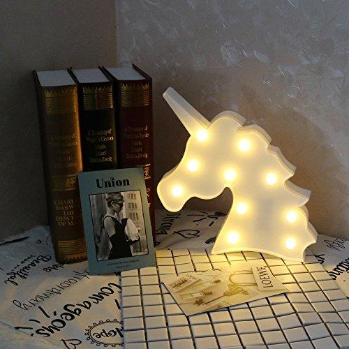 Nette Einhorn Kopf führte Nachtlicht Tier / Obst Form Marquee LED Lampen auf Wand für Kinder Kinder Geschenk Indoor Beleuchtung Chrismas Party Hochzeit Zimmer Dekor (White Unicorn Kopf) (Haus Dekor Im Freien)