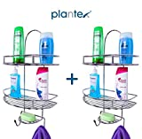 Plantex 5in1 Stainless Steel Multipurpose Bathroom Shelf/Kitchen Shelf/Holder/Bathroom Accessories for Home - Pack of 2
