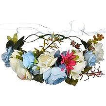 OKBO Diadema de flor guirnalda Floral corona guirnalda para fiesta de boda Featival, Venda de Flor Boho Corona de Cabeza de Pelo Guirnalda de Novias de Boda Decoración de Pelo de Mujer NiñaAzul
