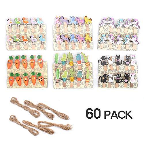 Segnalibro creativo carino in legno per bambini, mini mollette in legno con 6 spago di iuta (confezione da 60)