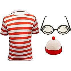 PAPER UMBRELLA Set para disfraz de rayas blancas y rojas