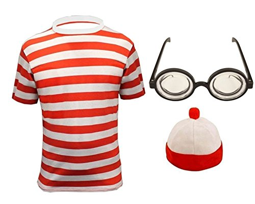 5-6 years, Shirt+Hat+Glasses - Childrens Red & White