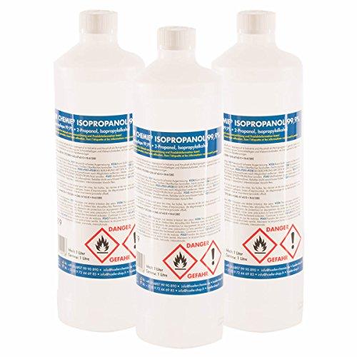 6 x 1 L Isopropanol 99,9% IPA von Höfer Chemie frisch abgefüllt in handliche 1 L Flaschen - perfekt als Lösungsmittel und Fettlöser geeignet - Persönliche Alkohol