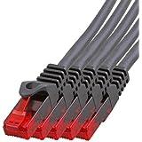 BIGtec - 5 Stück - 10m Gigabit Netzwerkkabel Patchkabel Ethernet LAN DSL Patch Kabel schwarz (2X RJ-45 Anschluß, CAT.5e…