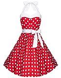 Zarlena Damen 50er Retro Rockabilly Polka Dots Petticoat Neckholder Kleid Rot mit weissen Dots 3X-Large 1610