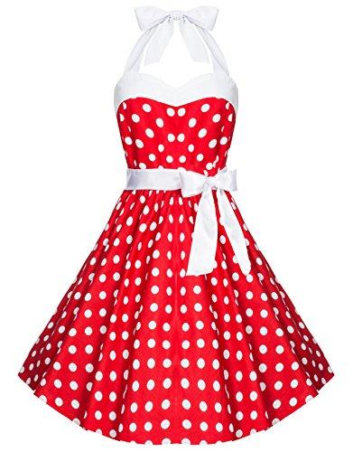 Zarlena, Rockabilly, Vestito vintage con fantasia a pois, con allacciatura al collo Rot mit weissen Dots XL