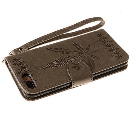 IPhone 7 Plus Housse Case, Double Side Embossing Fleurs Haute Qualité Flip Stand PU Leather Case avec Lanyard Wallet & Card Cash Slots pour Apple IPhone 7 Plus ( Color : Rose , Size : IPhone 7 Plus ) Gray