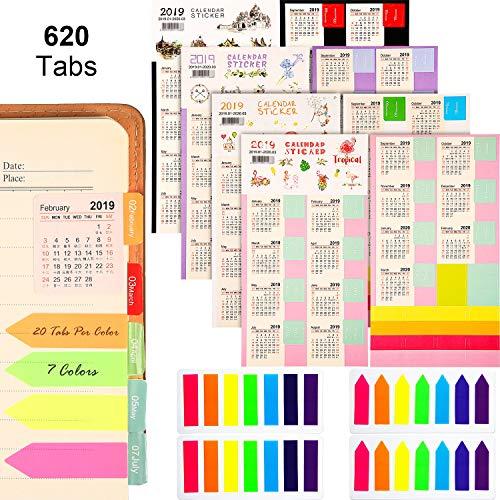 2019-2020 Calendari Adesivi Agende Mensili Adesivo Linguette (9/2019-3/2020) con 4 Set Neon Segnapagina Colorati Indice Linguette Foglietti per Pagina Marcatore (620 Linguette)