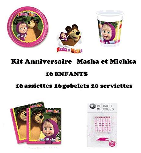 Uni que Set cumpleano Masha y el Oso Michka Decoración Cumpleaños 52 Piezas (16 Platos, 16 Tazas, 20 servilletas + 10 Velas Mágicas) Fiesta para 16 Niños