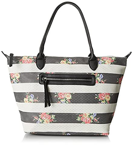 Dolce Girl Floral Perforated Travel Tote, Black/White, One