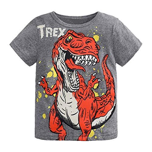 Jungen Kurzarm Cartoon Dinosaurier Brief Druck Tops T-Shirt Kleidung (Grau,90) ()