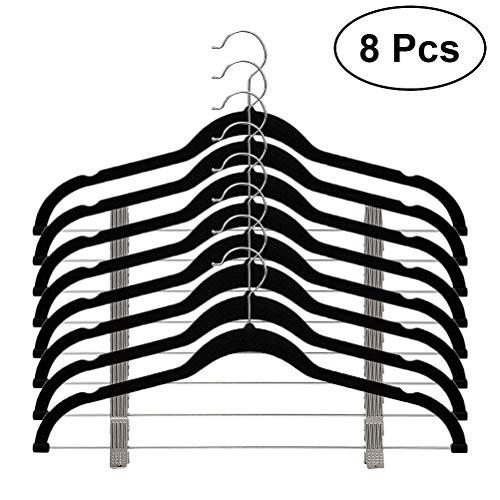 Vosarea 8 Stück Anti-Rutsch-Flocke, Velours, Kleidung, Kleiderbügel mit Clips für Mäntel, Hosen, Kleidung, Schwarz