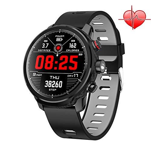 RISSME Smartwatch Intelligente IP68 Wasserdicht Armbanduhr mit 1,3 Zoll OLED-Display LED Taschenlampe Herzfrequenzsensor (Android Wear, NFC) Sportuhr Kompatibel mit Android und ios (Schwarz)