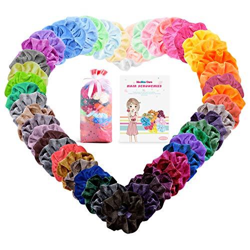 Scopri offerta per Meamae care Elastici per capelli 50 colori(pcs), scrunchies velluto scrunchies per capelli per bambine, donne
