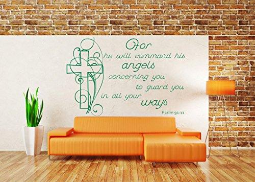 (Psalm 91:11, NIV christliche Bibelvers Zitat, Vinyl Wandkunst Aufkleber. Wandbild, Aufkleber. Haus, Wand, Kirche, Schule Dekor. Engel)