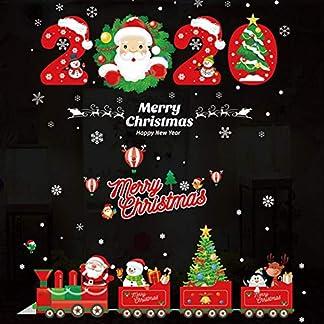 shewt 2020 Navidad Pegatinas de Pared Papá Noel Muñeco de Nieve Elk Ventana Adhesivos de Vidrio Adhesivo extraíble Mural Decal Sticker for Showcase Home Festival Decation