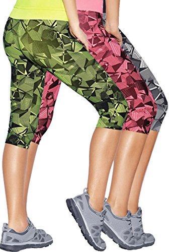 Haby Leggings de Sport à Capris pour Femme Gym Musculation Collants de Course Ceinture large 2 Neon 1 Noir