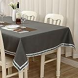 LIAN Tischdecke Europäischen Stil Mehrzweck Tischdecke Baumwolle Reine Farbe Spitze Familie Esstisch TV Zähler Tee Tischabdeckung Tuch (Farbe : Dunkelgrau, größe : 100 * 140cm/39.4 * 55.1in)