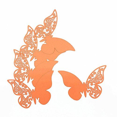 ElecMotive 100 Stück Schmetterling Tischkarten Namenskarten Glasanhänger Wandsticker für Tischdeko Hochzeit Party Haus Deco (Orange)
