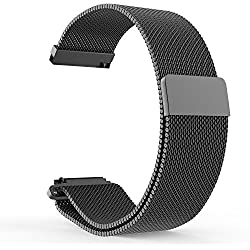 18mm 20mm 22mm Watch Strap, amBand Fully Magnetic Closure Clasp Mesh Loop Milanese Stainless Steel Metal Replacement Band Bracelet Strap for Men's Women's Watch Black, Silver