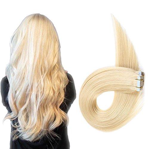 Echthaar Tape in Extensions Haarverdichtung Haarverlängerung glatt 20 Tressen x 4 cm breit 40 cm Platinum - Echthaar Tape