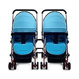 SHH Passeggino gemello Passeggino Passeggino Pieghevole Scossa Leggera separabile Baby può sedersi sdraiato Doppio (Colore : A)