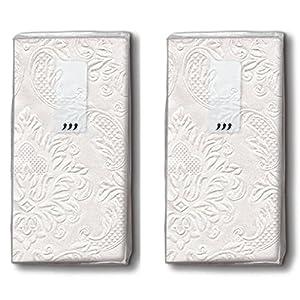 20 Taschentücher (2x 10) Taschentücher Moments Ornament pearl – Uni perlmutt mit Ornamente geprägt / Hochzeit / Freudentränen