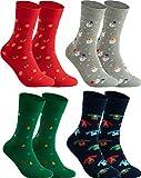 gigando - 4 Paar Weihnachtssocken - Socken Damen & Herren Weihnachten - kräftige Farben und bunte Weihnachtsmotive - Qualität ohne Naht aus Baumwolle - rot, silber, grün, blau - 39-42