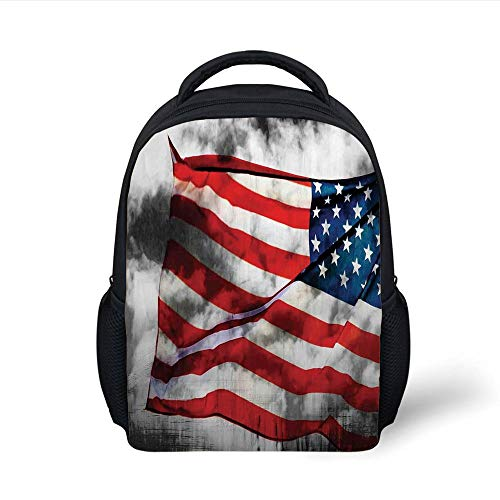 Kids School Backpack American Flag,Banner in The Sky on Cloudy Mist Display National Symbol Proud of Heritage,Grey Red Blue Plain Bookbag Travel Daypack -