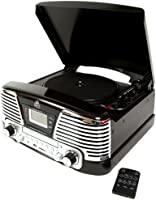 GPO Memphis Turntable 4-in-1 Music Centre with CD and FM Radio - Black