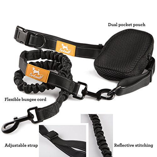 Hands-Free-Running-Dog-Lead-Dog-Walking-Belt-by-Barkswell-Reflective-with-Double-Sided-Lined-Pouch-Up-to-60-Kg-Great-for-Handsfree-Running-Jogging-or-Walking