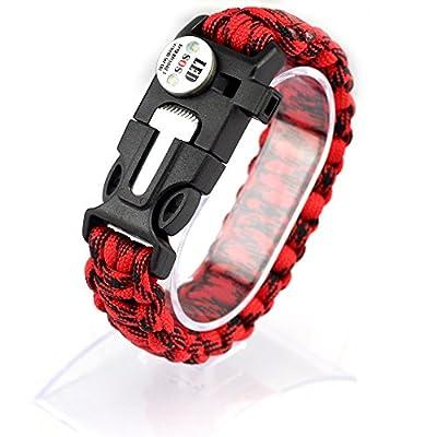 Survival Paracord Armband Etelux mit wasserdicht? SOS LED Licht? Fire Starter und Emergency Whistle (Rote und schwarze Tarnung)