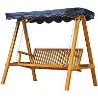 Oursunny - Dondolo con baldacchino 3 posti altalena da giardino panchina swing in legno