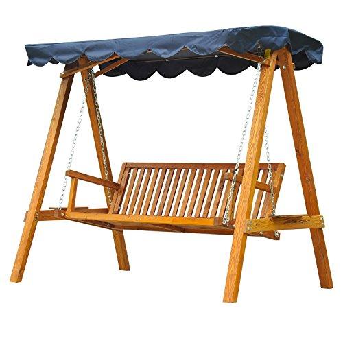 homcom Outsunny Dondolo Hollywood con tettuccio parasole, 3 posti, da giardino, panchina a dondolo in legno