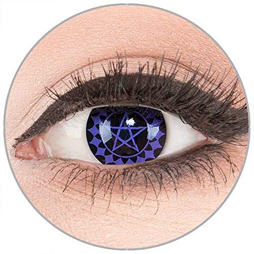 Farbige Kontaktlinsen zu Fasching Karneval Halloween in Topqualität von 'Glamlens' ohne Stärke 1 Paar Crazy Fun schwarze 'Black Buttler' mit Behälter