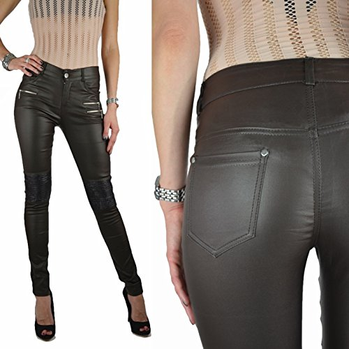 Braune Damen Kunstlederhose Bikerhose Jeans Hose mittelhoch skinny Röhre XS-XL Braun