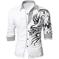 Camisa blanca de Hombre Europeo dominante Dragon Diseño delgado atractivo camisa Blanco Tamano M