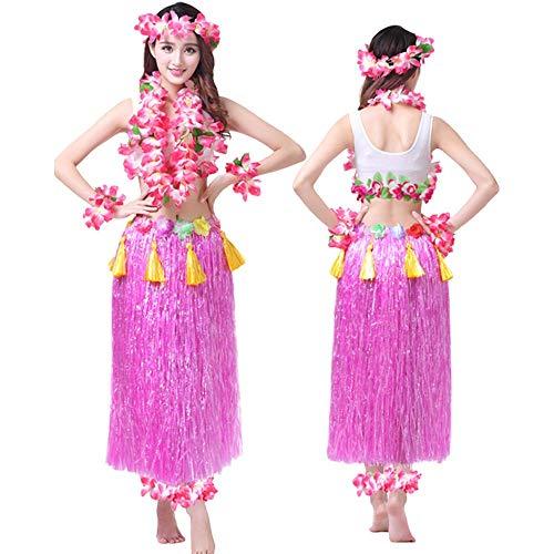 Kunststoff Kostüm Rosa Tanz - G-like Hula Tanz Kleid Kostüm - Hawaii Tanzkleid Grasrock Zubehör Sexy Outfit Kleidung Set Verzierung Quasten Blumen Party Cosplay Maskerade Strandurlaub für Damen Mädchen - Kunststoff 8 In 1 (Rosa)