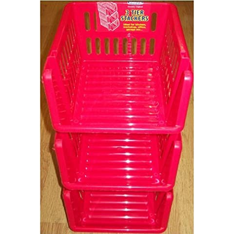 Whitefurze a 3 livelli impilabili, set di 3 Tier Rack Stackers verdura, in plastica, colore: rosso