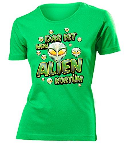 Alienkostüm Alien Kostüm Kleidung 1802 Damen T-Shirt Frauen Karneval Fasching Faschingskostüm Karnevalskostüm Paarkostüm Gruppenkostüm Grün XL