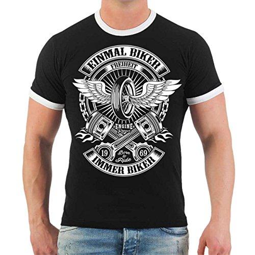 Männer und Herren T-Shirt Einmal Biker immer Biker Größe S - 8XL Schwarz/Weiß