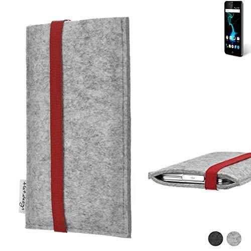 flat.design Handy Hülle Coimbra für Allview P6 Pro individualisierbare Handytasche Filz Tasche rot grau