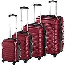 TecTake Set de 4 valises de Voyage de ABS Serrure à Combinaison intégrée | poignée télescopique | roulettes 360° - diverses Couleurs au Choix - (Bordeaux | no. 402026)