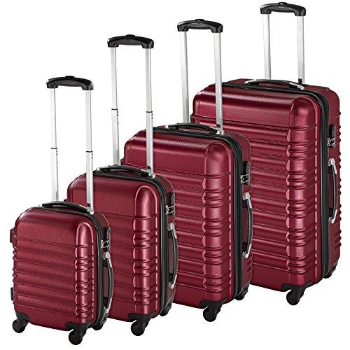 TecTake Set de 4 valises de voyage de ABS avec serrure à combinaison intégrée | poignée télescopique | roulettes 360° - diverses couleurs au choix - (...