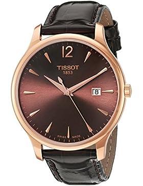 Tissot Damen-Armbanduhr 42mm Armband Leder Braun Entspiegeltes Saphir Schweizer Quarz T0636103629700