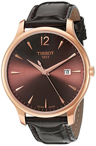 Tissot Damen-Armbanduhr 42mm Armband Leder Braun Entspiegeltes Saphir Schweizer Quarz T0636103629700 (Leder Armbanduhr Tissot)