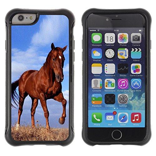 Graphic4You Pferd Tier Design Shockproof Anti-Rutsch Weichen Hülle Case Tasche Schutzhülle für Apple iPhone 6 Plus / 6S Plus Design #4