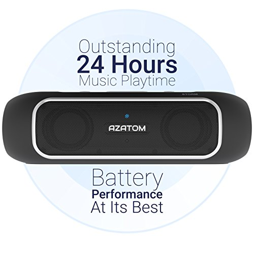 AZATOM-Storm-Powerful-Bluetooth-40-Portable-speaker-with-NFC-Dual-Drivers-Twin-Bass-Woofers-24W-24hrs-playtime-Patented-UK-design-Built-in-Microphone-for-Calls-iPhone-iPod-iPad-Samsung-LG-and-others-B
