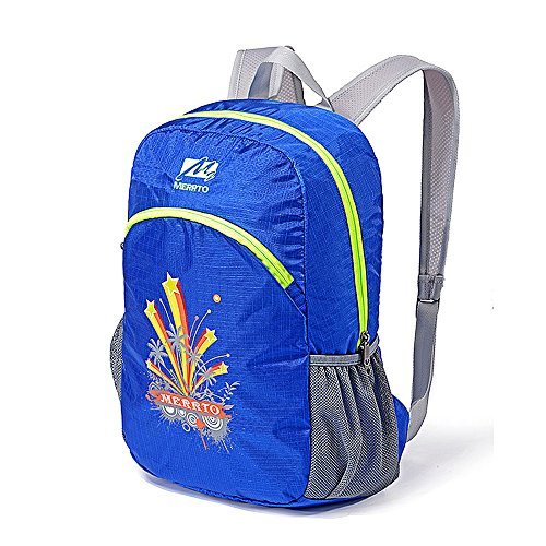 Ranbow Fireworks Backpack Large Capacity Foldable Daypack Outdoor Knapsack 30L, Blue Blu